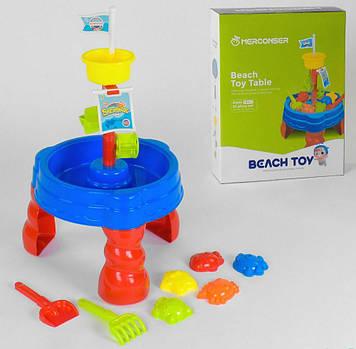 Детский столик-песочница с аксессуарами Столик для игры с песком и водой   Игрушки в песочницу деткам