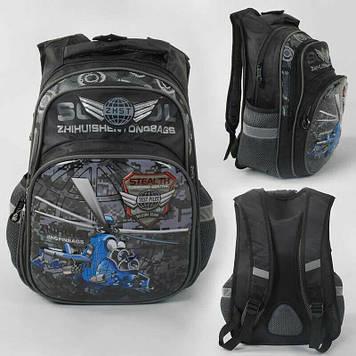 Рюкзак детский школьный с рисунком вертолёт Детский школьный ранец с дышащей спинкой и подушечками на спине
