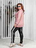 Женский костюм туника трикотаж двухнить и лосины эко кожа размер: 50-52, 54-56, 58-60, фото 7