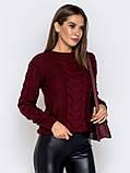 S-XL  Шерстяной свитер ажурной вязки на полочке и рукавах бордовый, фото 2