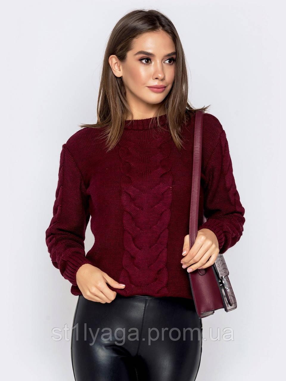 S-XL  Шерстяной свитер ажурной вязки на полочке и рукавах бордовый