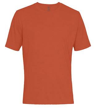 Футболка однотонна чоловіча, колір морквяний, кругла горловина