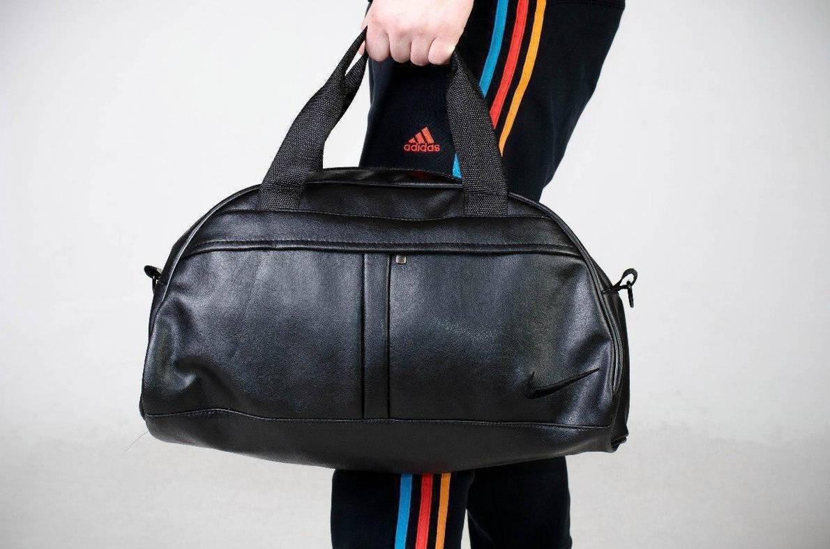 Сумка Мужская | Женская кожаная спортивная (унисекс) Nike ( Найк) черная черное лого, фото 2