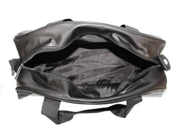 Сумка Мужская | Женская кожаная спортивная (унисекс) Nike ( Найк) черная черное лого, фото 3