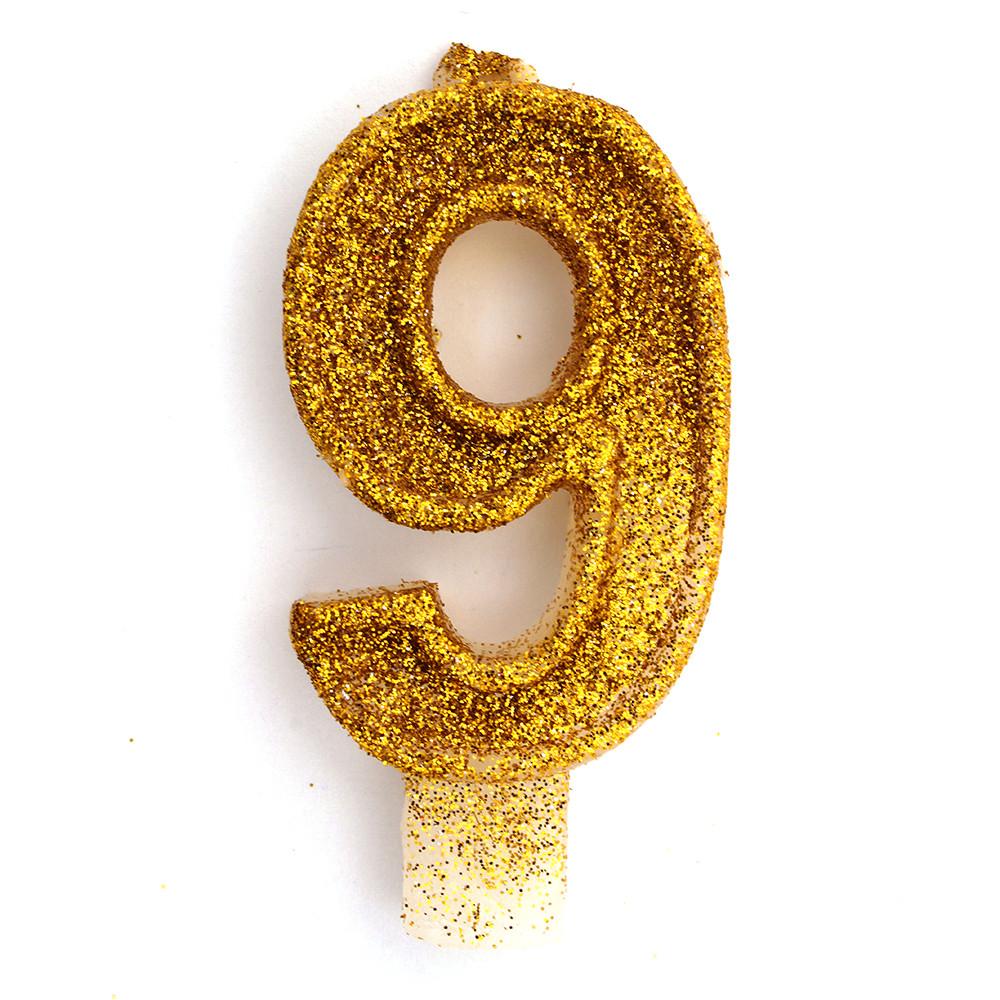 Свеча в торт на день рождения цифра 9 золото с блестками 1769