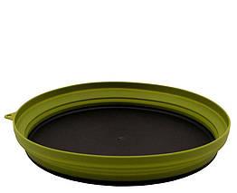 Тарелка Tramp плоская силиконовая с пластиковым дном олива 1070 мл TRC-124
