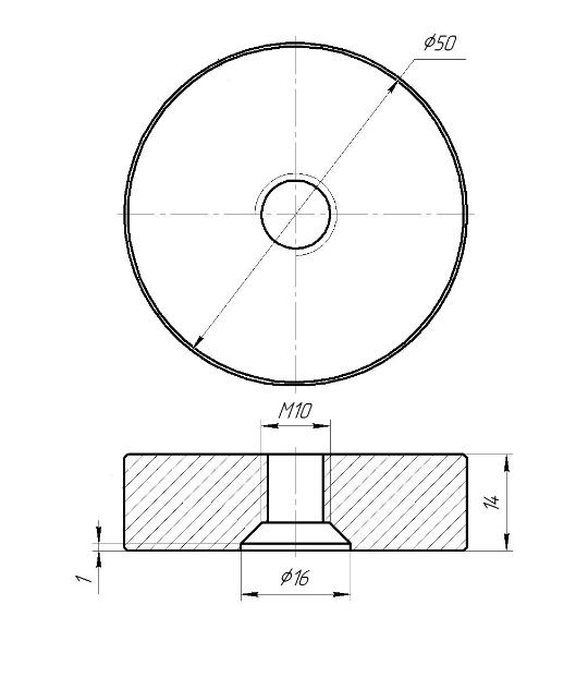 ODF-06-36-01-L15 Дистанция 15 мм для коннектора диаметром 50 мм и с резьбой М10, сатин