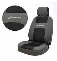 Автомобильные чехлы Daewoo Lanos серо-черные полный комплект 4 подголовника Автосвит