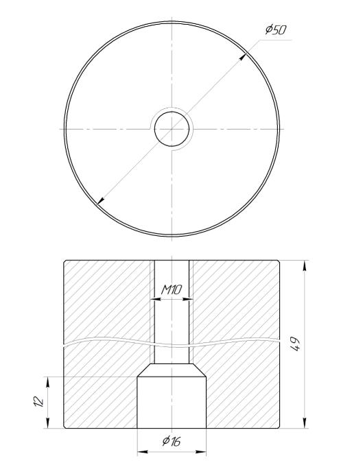 ODF-06-36-01-L50 Дистанция 50 мм для коннектора диаметром 50 мм и с резьбой М10, сатин