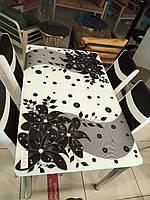 Распродажа! Новинка 2020р. Кухонный Стол+6 стульев Стекло .Размер стола 130*80см+40см ТУРЦИЯ