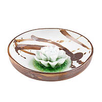 Подставка для благовоний Лотос в чаше Фарфор 12х12х3,5 см Шоколадные брызги ( 21927)