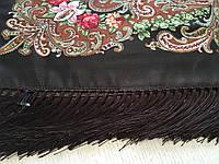 Хустина* в етнічному стилі з квітами та українським орнаментом колір темно-коричневий розмір 110*110 см