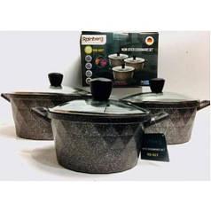Набор кухонной посуды кастрюль с антипригарным покрытием Rainberg RB-607 6 предметов