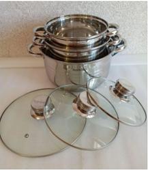 Набор посуды из нержавеющей стали с антипригарным покрытием 6 предметов серебряный Rainberg RB-604