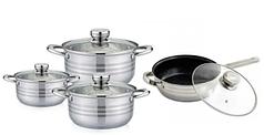 Набор посуды из нержавеющей стали с антипригарным покрытием 8 предметов серебряный Rainberg RB-605