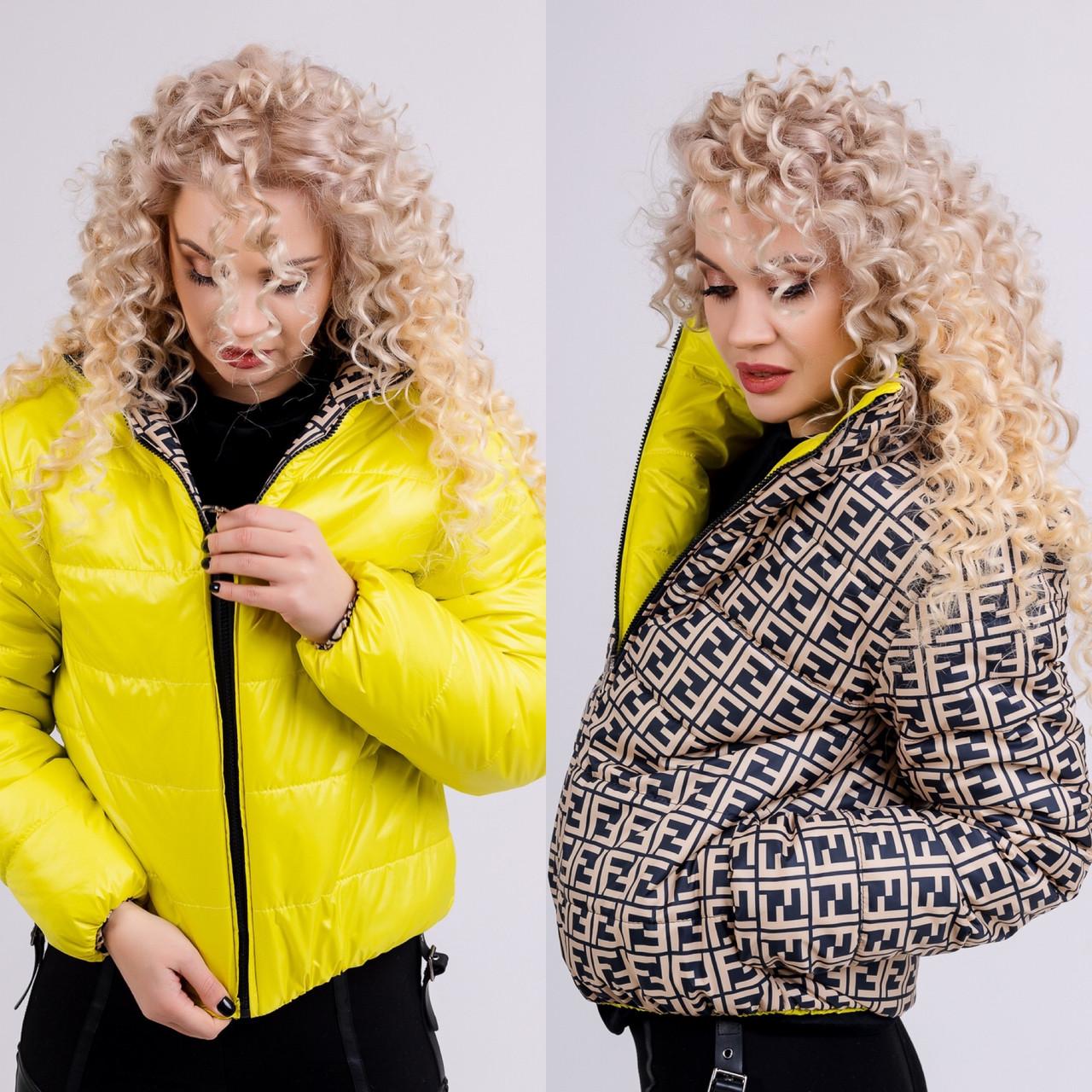 Коротка двостороння куртка в модний принт 42-48 р