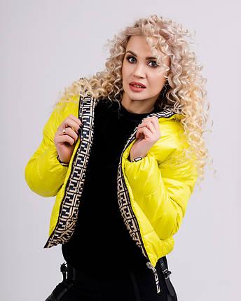 Коротка двостороння куртка в модний принт 42-48 р, фото 2