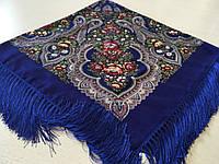Хустина* в етнічному стилі з квітами та українським орнаментом колір синій розмір 110*110 см