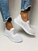 Турецкая обувь. Женские белые кеды-кроссовки с перфорацией из натуральной кожи. Размер 36,37,38,39, фото 3