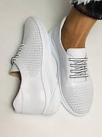 Жіночі білі кеди кросівки з перфорацією з натуральної шкіри 36-40. Супер комфорт, фото 6