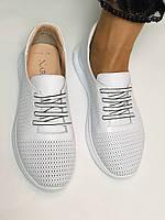 Жіночі білі кеди кросівки з перфорацією з натуральної шкіри 36-40. Супер комфорт, фото 5