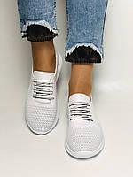 Турецкая обувь. Женские белые кеды-кроссовки с перфорацией из натуральной кожи. Размер 36,37,38,39, фото 4