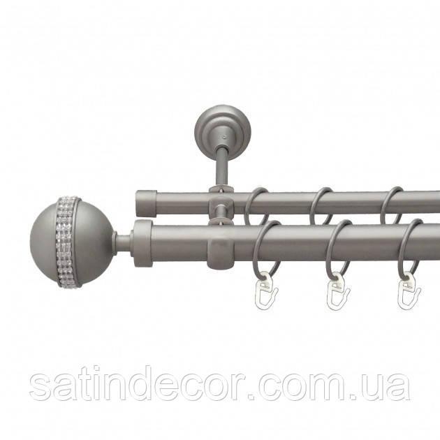 Карниз для штор металлический АВЕЯ двойной 25+19 мм 1.8м Сатин никель