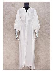 Пляжный халат длинный в пол КОТТОН Рубашка белая пляжная с поясом Туника Накидка на пляж 146-54-СРА, фото 3