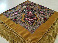 Хустина* етнічна з квітами та українським орнаментом колір гірчичний розмір 110*110 см