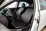 Чехлы салона Renault Duster 2015- (сплошн. 5 подгол.) Эко-кожа, Ромб /черные 90002, фото 2