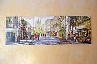 Картина акрилом триптих Город. Солнечная улица 50х150см покрыта глянцевым лаком Ручная работа