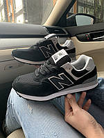 Стильные кроссовки женские замшевые New Balance 574/Нью Беланс 574/черные/(р. 37-38)