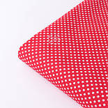 """Тканина бавовняна """"Пунктирний горошок"""" білий на червоному (№3300), фото 3"""