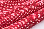"""Тканина бавовняна """"Пунктирний горошок"""" білий на червоному (№3300), фото 4"""
