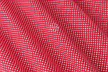 """Тканина бавовняна """"Пунктирний горошок"""" білий на червоному (№3300), фото 5"""