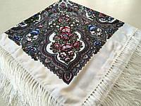 Хустина* етнічна з квітами та українським орнаментом колір білий розмір 110*110 см