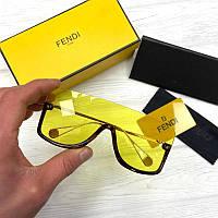 Женские солнцезащитные очки маска Фенди реплика Желтые, фото 1