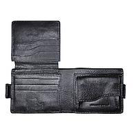 Портмоне Grande Pelle Аmico 110х90х15 мм глянцева шкіра чорний