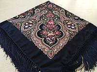 Хустина* в етнічному стилі з квітами та українським орнаментом колір темно-синій розмір 110*110 см
