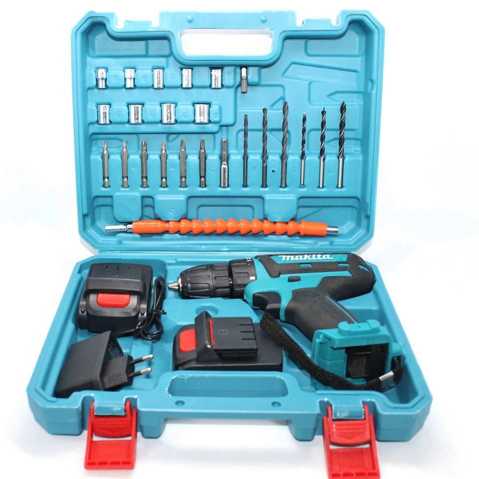 Аккумуляторный шуруповерт Makita с набором инструментов в кейсе 550DWE Макита 24V 5A