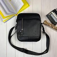Кожаная мужская сумка через плечо вместительная барсетка из кожи 8s40 черная