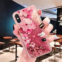 Чехол Glitter для Xiaomi Redmi S2 бампер Жидкий блеск аквариум Sakura