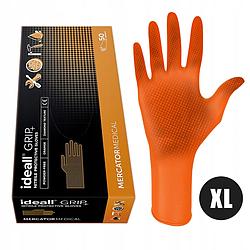 Перчатки нитриловые Mercator Medical ideall GRIP+ Оранжевые 25пар\50шт. размер XL
