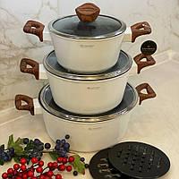 Набор кастрюль Edenberg с мраморным покрытием из 8 предметов и толстым дном. Набор кухонной посуды EB-7424
