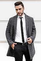 Пальто мужское демисезонное весеннее осеннее Boss серое | Пальто деловое мужское повседневное ЛЮКС качества