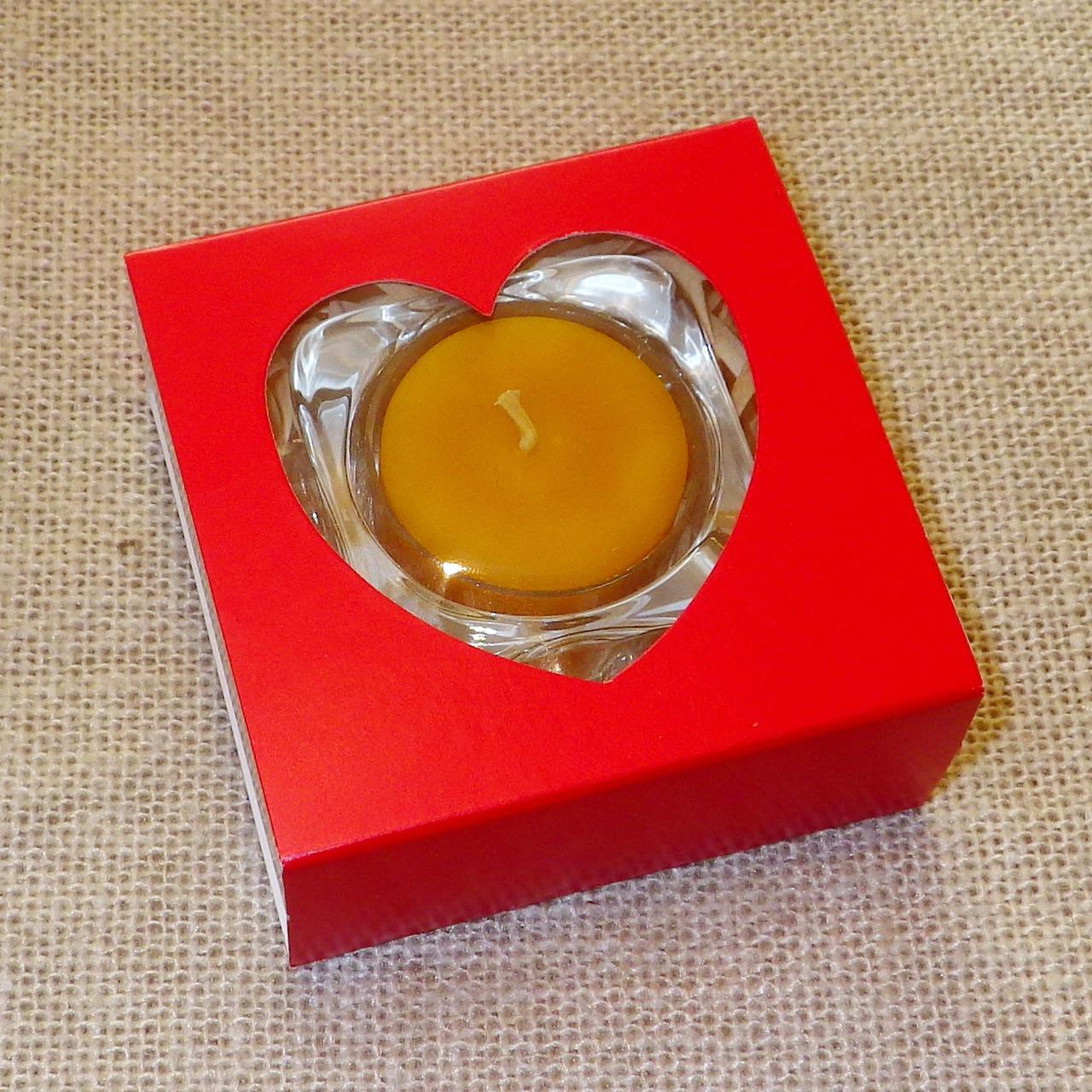 Набор стеклянного подсвечника в комплекте с прозрачной восковой чайной свечой 24г в коробке Красное Сердце