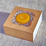 Набор стеклянного подсвечника в комплекте с прозрачной восковой чайной свечой 24г в коробке Красное Сердце, фото 5