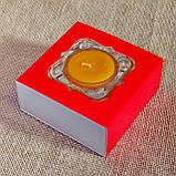 Набор стеклянного подсвечника в комплекте с прозрачной восковой чайной свечой 24г в коробке Красное Сердце, фото 4