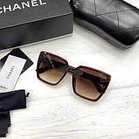 Женские солнцезащитные очки Шанель реплика Коричневые с градиентом, фото 1