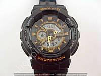 Детские часы Casio Baby G BA-111 5338 (013575) светлый дисплей черные с золотом водонепроницаемые